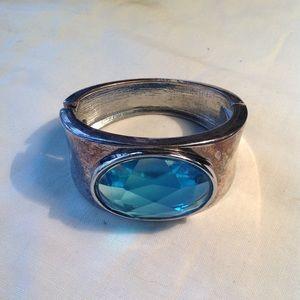 Chunk Silver Tone Blue Glass Clapper Cuff